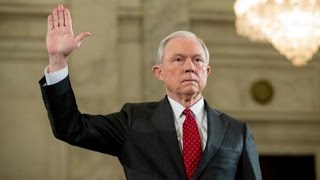 Repeat youtube video Trump's Attorney General Lies About His Record