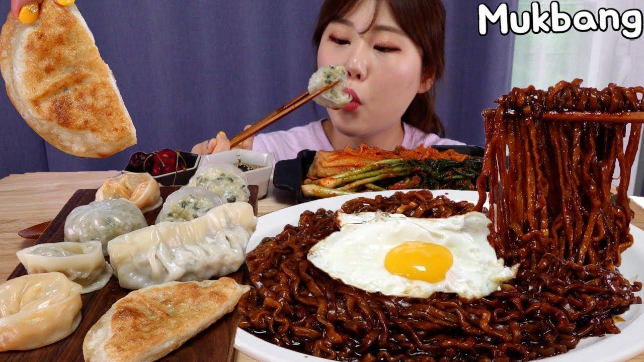 Mukbang | Pişirme ve yeme 🍜 JinJinJjara erişteleri ve çeşitli köfteler.