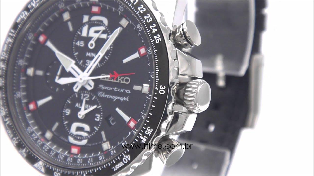 fcae37f0720 Relógio Seiko Sportura Aviator Sapphire Masculino 7T62BU 8 - YouTube