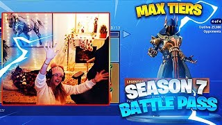 ALL SEASON 7 BATTLE PASS TIERS UNLOCKED! + REACTION (Fortnite: Battle Royale) | KittyPlays