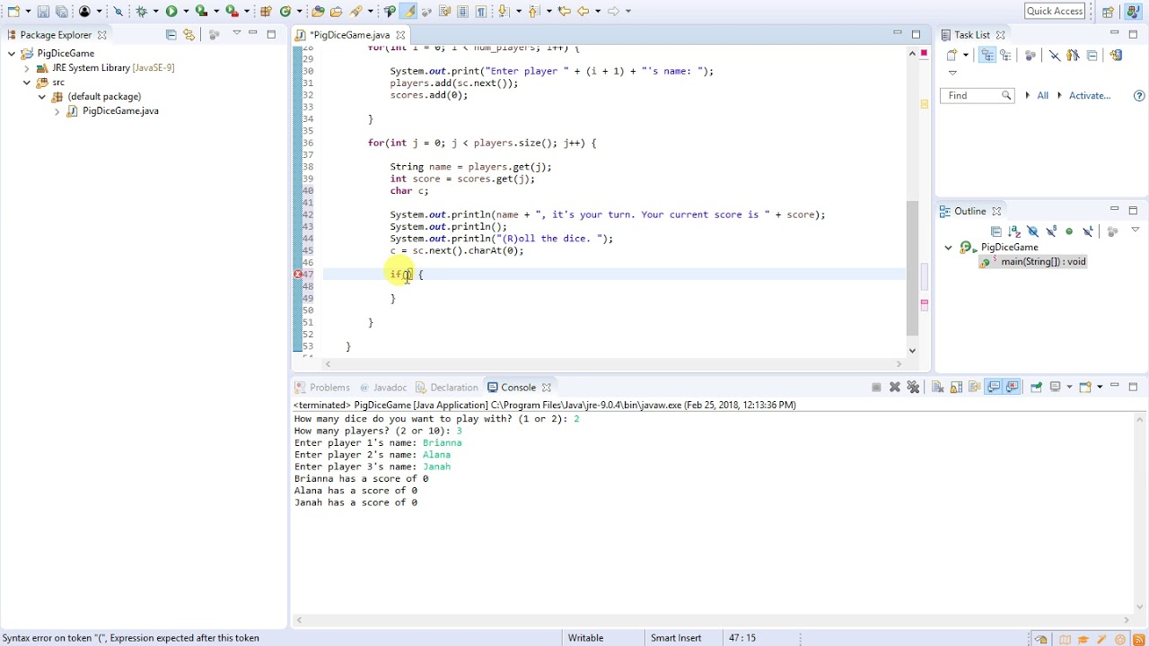 05 - Java Programming (Pig Dice Game) - Setting Up The Game (Part 1)