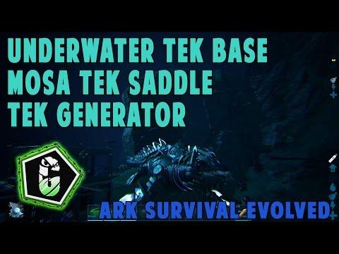 Ark Survival Evolved - Tek Underwater Base, Tek Generator, Tek Teleporter, Tek Mosa Saddle