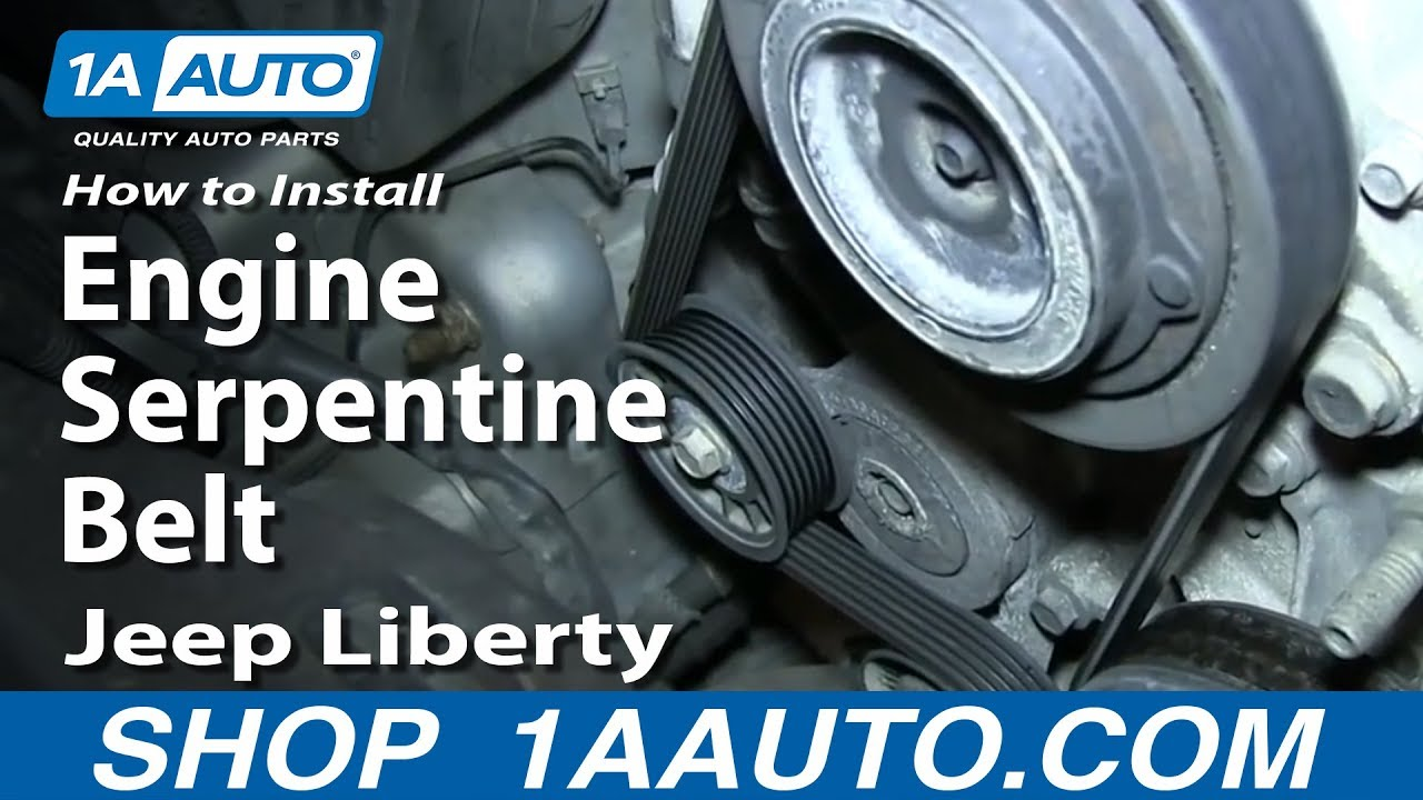 hight resolution of how to replace engine serpentine belt 02 07 jeep liberty