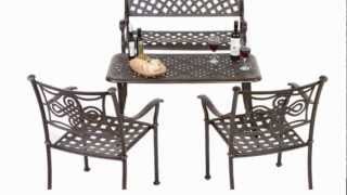 Metal Patio Bench, Table & Chairs Set