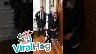 Dad Gets Daughters with Back to School April Fool's Day Gag || ViralHog