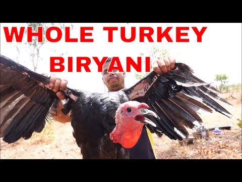 THE WHOLE TURKEY RECIPE INDIAN STYLE - COOKING BEST TURKEY BIRYANI EVER - COOKING AND EATING IN WILD
