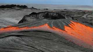 Rivers of molten lava high up Pulama Pali - Kilauea Volcano Hawaii