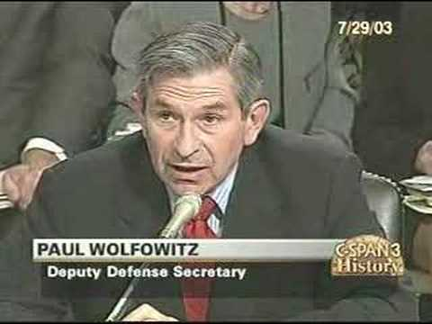 Lincoln Chafee Grills Paul Wolfowitz in '03 Senate Hearing