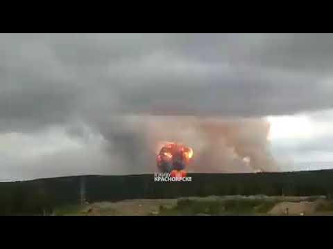 Explosions warehouse ammunition in Russia Krasnoyarsk