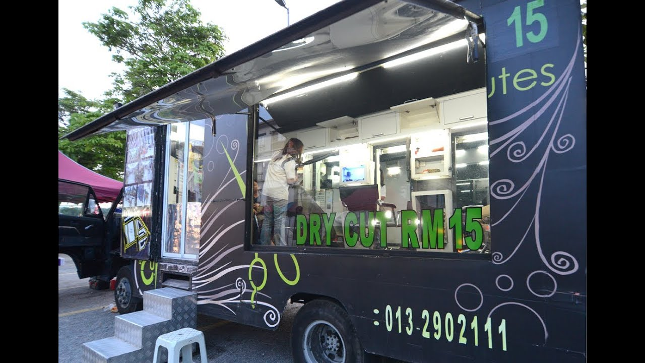 Wheel cut mobile hair salon youtube for Salon mobil home