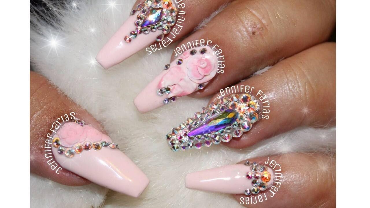 Uñas Acrilicas Rosa Pastel Con Swarosvky Uñas Acrilicas 2017 Youtube