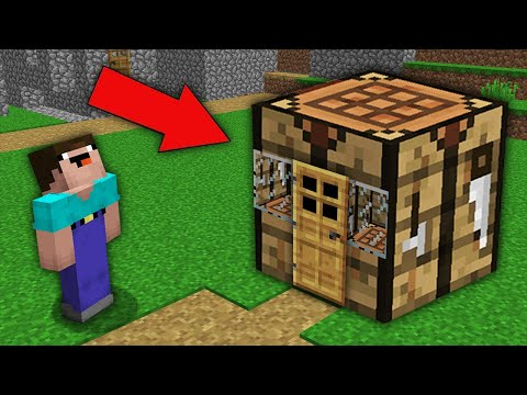 Minecraft NOOB Vs PRO:NOOB BUILD HOUSE IN BIGGEST CRAFTING TABLE IN VILLAGE! Challenge 100% Trolling