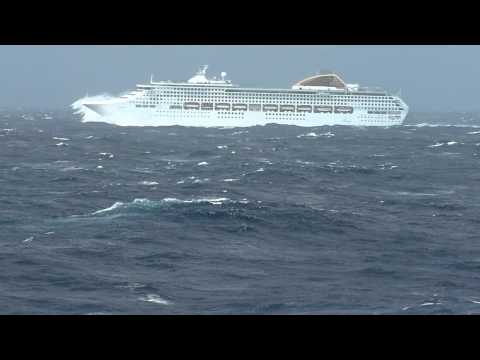 P&O's Oceana in heavy seas in Bay of Biscay. 25.04.2012