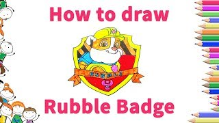 How to draw Rubble Badge from PAW Patrol for kids step by step - drawing for kids