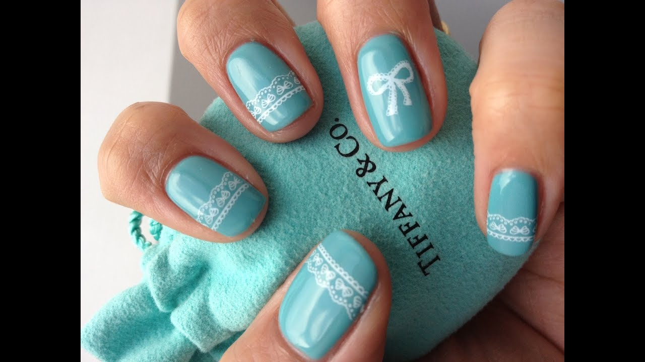 Tiffany co inspired nail art design with stamping youtube prinsesfo Images