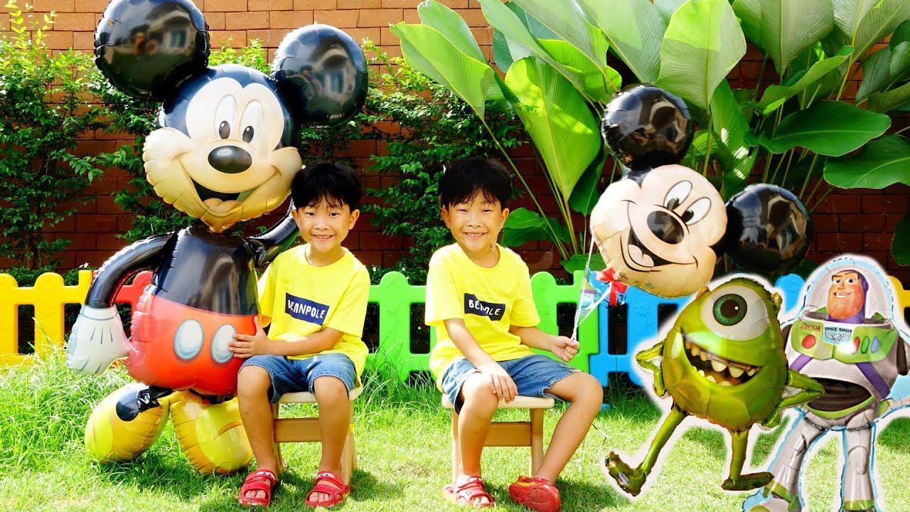 디즈니 캐릭터 풍선 가게놀이 예준이의 거대 헬륨풍선 장난감 색깔놀이 미키마우스 Kids Balloon Store Game Play with Papa