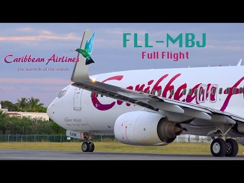 Caribbean Airlines B737-800 BW30 Ft. Lauderdale, Florida to Montego Bay, Jamaica Full Flight (uncut)