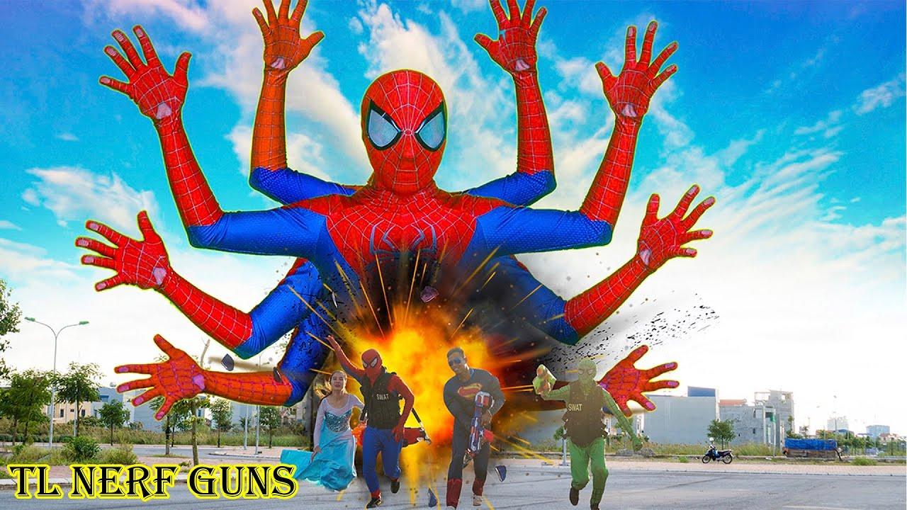 Superhero Nerf War: Spiderman X Warriors Nerf Guns Fight Criminal Group  FAKE Spiderman