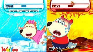 Hot vs Cold Air Conditioner - Wolfoo Learns Safety Tips for Kids   Wolfoo Family Kids Stories