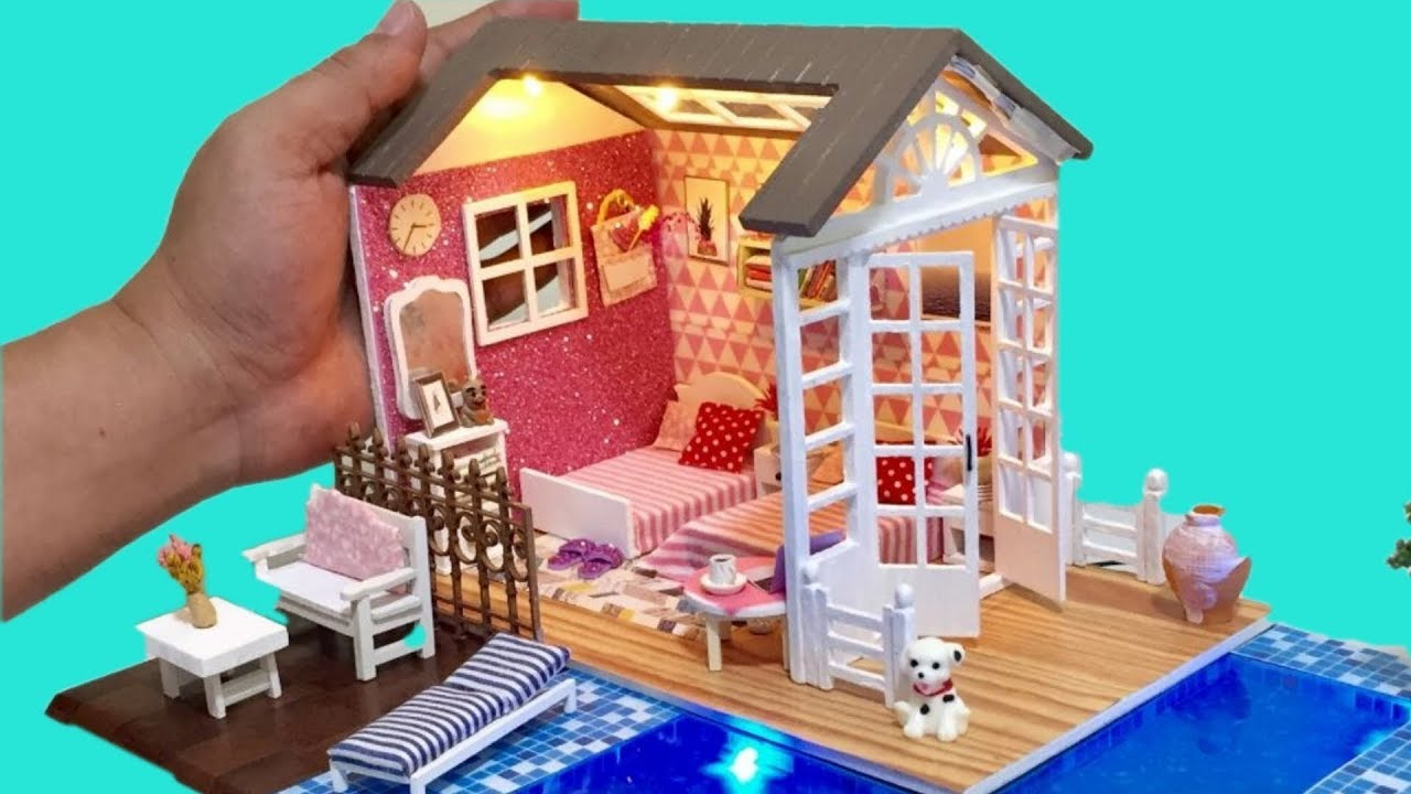 Diy Miniature Dollhouse Barbie Twin Bedroom With Swimming Pool Youtube