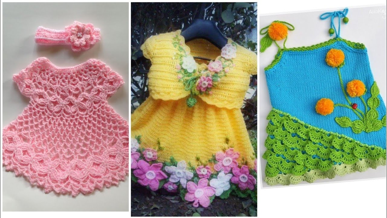 Crochet and knitting baby frocks designs - YouTube