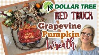 DOLLAR TREE RED TRUCK Pumpkin Grapevine Wreath from Hobby Lobby || Fall DIY