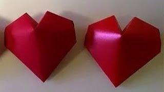 Что подарить? Как сделать сердце из бумаги. Объемная Валентинка Оригами Игрушки Поделки с детьми!