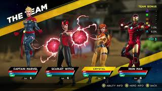 Marvel Ultimate Alliance 3 Captain Marvel Scarlet Witch Crystal Iron Man Stats and Ability