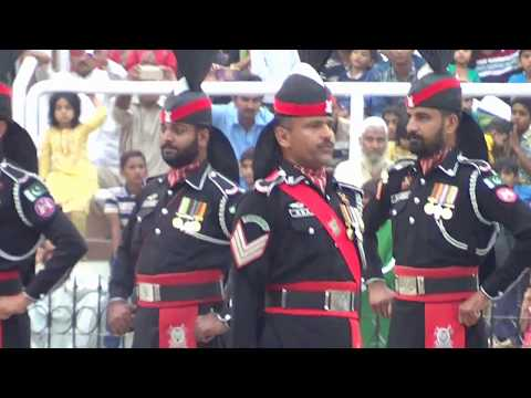 Wagah Border Lahore Pakistan Vs India  Flag Lowering Ceremony Sunday 22nd, October, 2017