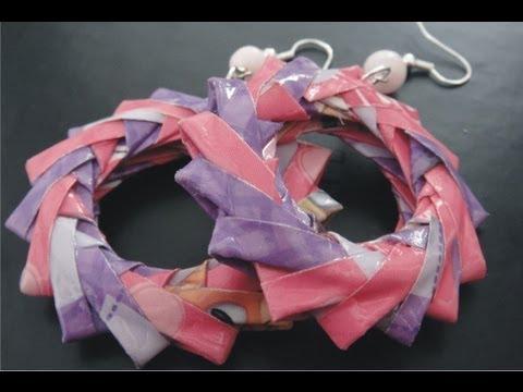 DIY♥Crea tus accesorios Aretes (papel, reciclaje) Bisuteria