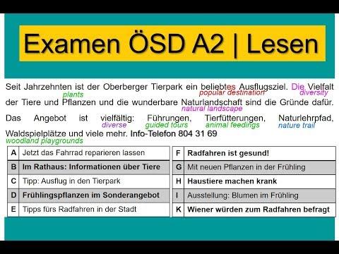 ÖSD Lesen A2 | German Reading Exam ÖSD A2
