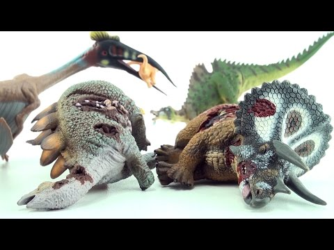 4 cool dinosaurs - Dead Triceratops, Stegosaurus corpse, Ichthyovenator and Quetzalcoatlus