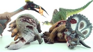 4 cool dinosaurs - Dead Triceratops, Stegosaurus corpse, Ichthyovenator and Quetzalcoatlus