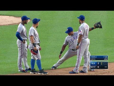 Beltre tries to imitate Profar's split