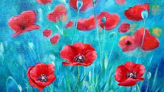 Red Poppies Floral Landscape Acrylic Painting LIVE Tutorial