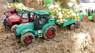 รถของเล่นมหาสนุก ตอน รถแทรกเตอร์ไถ่ดินปลูกดอกไม้ Tractors for Kids รถบรรทุก รถไถ่นา