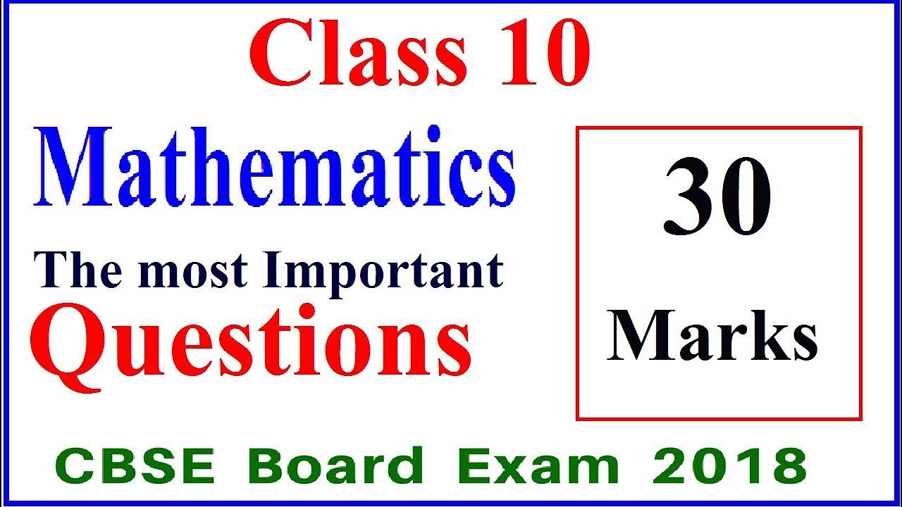 Class 10 Maths Important Questions 2019 I Class 10 Math Cbse Board Exam  2019 I Part-2 #cbsenews