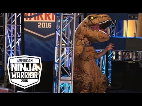Download A T-Rex Dinosaur Crashes The American Ninja Warrior Course | American Ninja Warrior