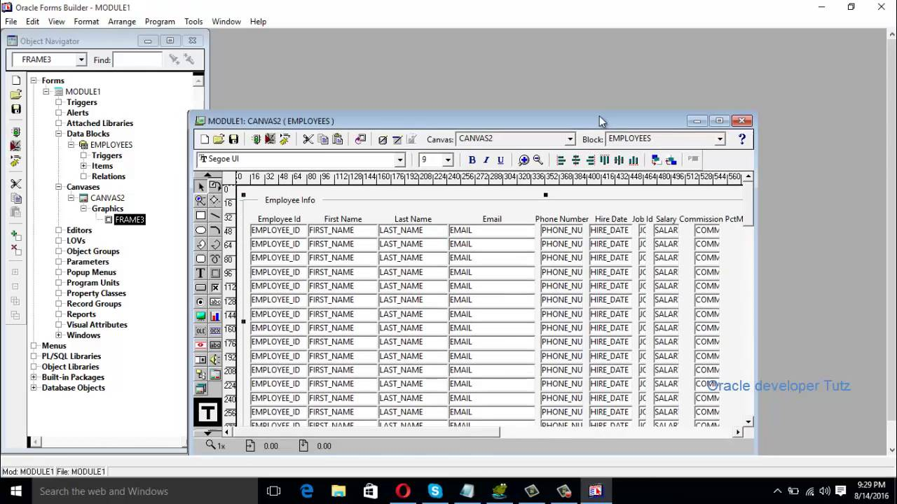Display table s data in tabular form in oracle form builder part 1