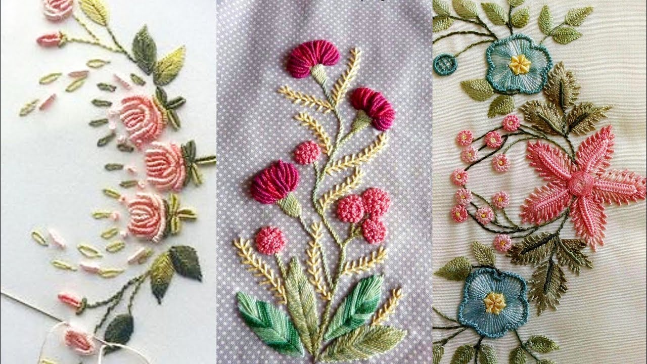 Brazilian Hand Embroidery Patterns //Vintage Rose Flower Hand Embroidery  Designs Patterns