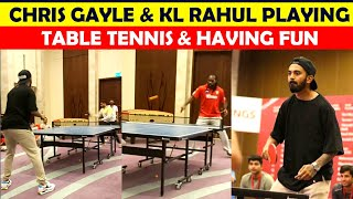 KXIP Captain Kl Rahul & Batsman Chris Gayle Playing Table tennis & And having fun
