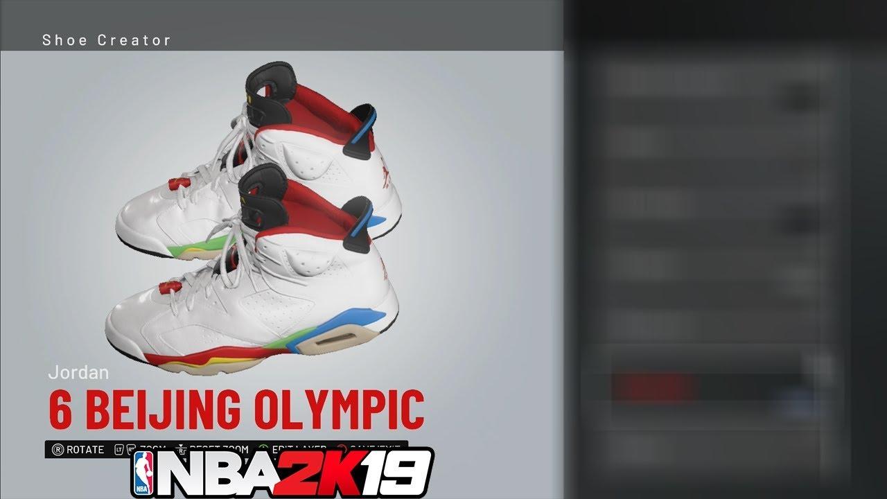 f9678b41b6ba NBA 2K19 Shoe Creator Jordan 6 Beijing Olympic 🔌🔥👟 - YouTube