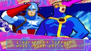 Marvel Super Heroes VS Street Fighter - Captain America/Cyclops - Expert Difficulty Playthrough