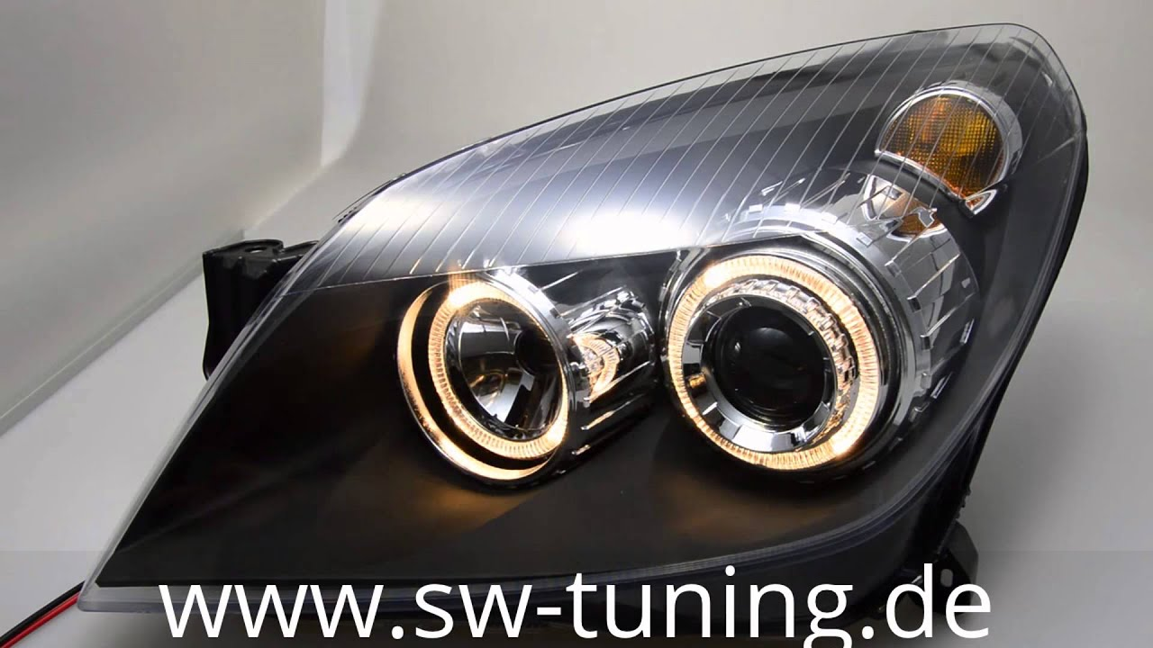 angel eye scheinwerfer opel astra h black sw tuning youtube. Black Bedroom Furniture Sets. Home Design Ideas
