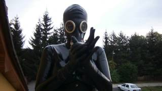 Latex catsuit and Russian gas mask