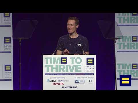 Chris Mosier Addresses the Crowd at Time to Thrive LGBTQ Youth ...