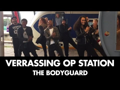 De cast van The Bodyguard neemt treinstation over | The Bodyguard