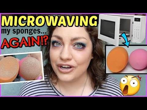 HACK OR HOAX | Miracle 2-Ingredient Microwave Recipe to Clean Makeup Sponges!?!?