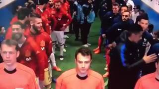 Sergio Ramos and Gerard Pique having fun in the tunnel before France v Spain