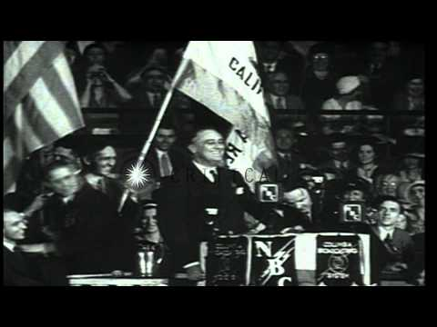 Governor Franklin Delano Roosevelt addresses people at the 1932 Democratic Nation...HD Stock Footage